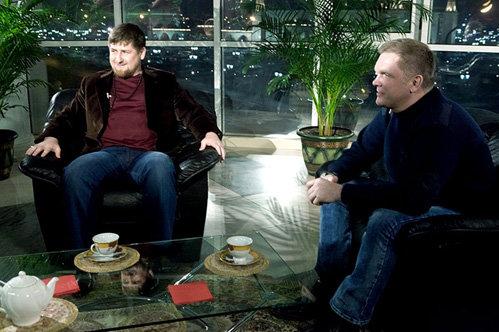 Рамзан КАДЫРОВ и Андрей КОЛЕСНИКОВ на съёмках программы «Нереальная политика»