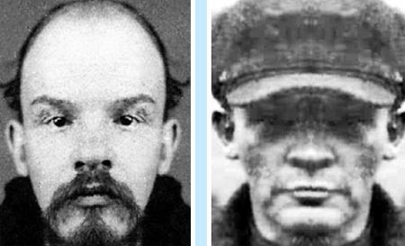 Левая часть лица у Владимира меньше, а у Николая больше