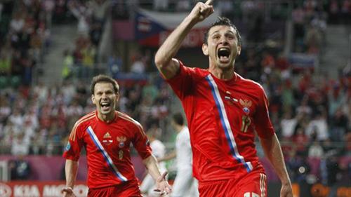 Футболисты сборной России остались на первом месте в группе «А». Фото: «РИА Новости»