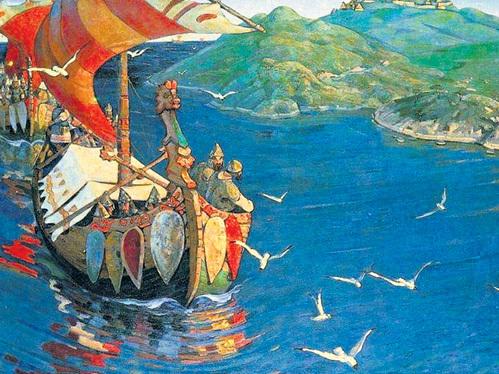 Совершив путешествие по «великому водному пути» к Новгороду, Николай РЕРИХ написал картину «Заморские гости» (1901 г.), на которой изобразил варягов