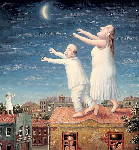 Кто-то по ночам спит, кто-то летает, а кто-то бродит по крышам (картина Владимира ЛЮБАРОВА «Лунатики»)