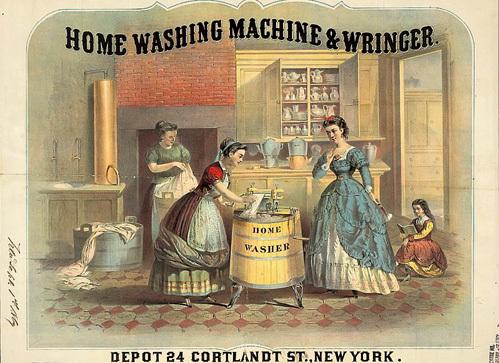 Стиральная машина с отжимом в одном из домов Нью-Йорка (1869 г.)