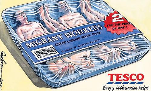 Так воспринимают в Европе новых соседей. Надпись на банке: «Мигранты-рабочие. Экономичная упаковка. Два по цене одного. Продукт Восточной Европы»