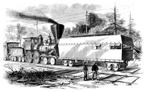 Гравюра из американской газеты времен гражданской войны Севера и Юга с изображением первого «Рельсового монитора» - защищенного металлом вагона с оружием