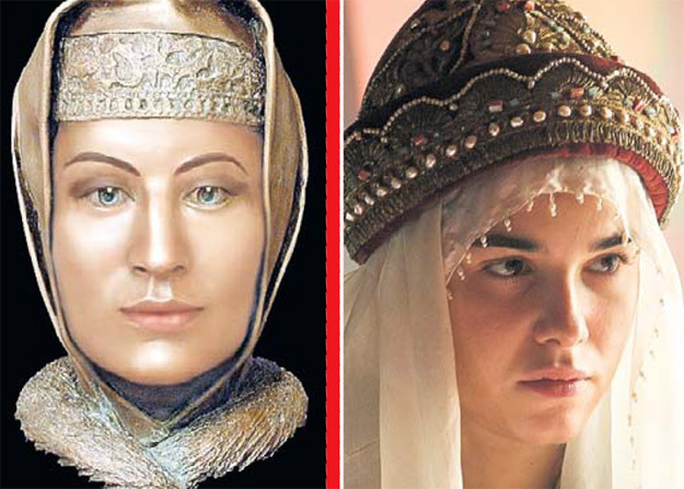 Реконструкция внешности ПАЛЕОЛОГ и Мария АНДРЕЕВА в её образе. Фото слева с сайта Aazubov.blogspot.ru