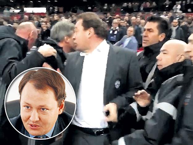 Леонид Викторович (в центре) хотел по-мужски разобраться с МАЛИКОВЫМ (в круге). Кадр: Youtube
