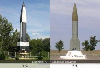 Слева – немецкая «Фау-2» на полигоне Пеенемюнде, справа – советская Р-1 на полигоне Капустин Яр. Источник: likeness.ru