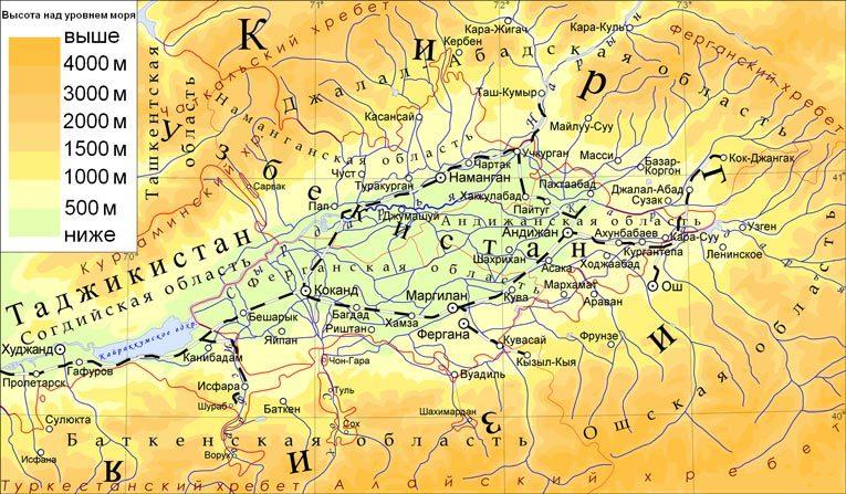 Карта Ферганской долины. Источник: wikimedia.org