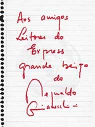 Дорогим читателям &#034Экспресс газеты&#034 большой поцелуй от Рейнальдо ДЖАНЕККИНИ