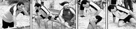 Валерий Меладзе, как истинный грузин, старался всех перепить. Но рано утром все же смог прийти на товарищеский матч по футболу. Десять бутылок вина дали о себе знать: певца сильно тошнило и ноги отказывались бить по мячу