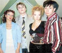 КАДР ИЗ СЕРИАЛА «FM И РЕБЯТА» (слева направо): Алиса Гребенщикова, Алексей Ильин, Слю и Белых