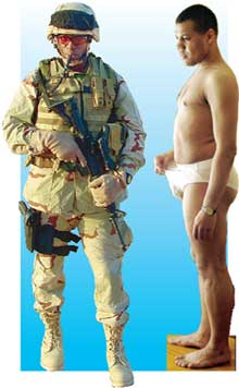 БОЛЬШАЯ РАЗНИЦА: натовский солдат в своем исподнем потеет, а наш Самсон в изобретении российских ученых чувствует себя замечательно