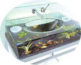 УМЫВАЛЬНИК В НОМЕРЕ МОЛОДЫХ: был стилизован под аквариум
