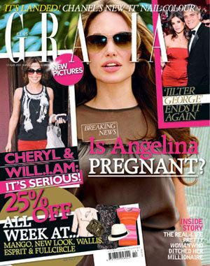 Обложка журнала Grazia, источники которого утверждают, что Анджелина Джоли снова беременна