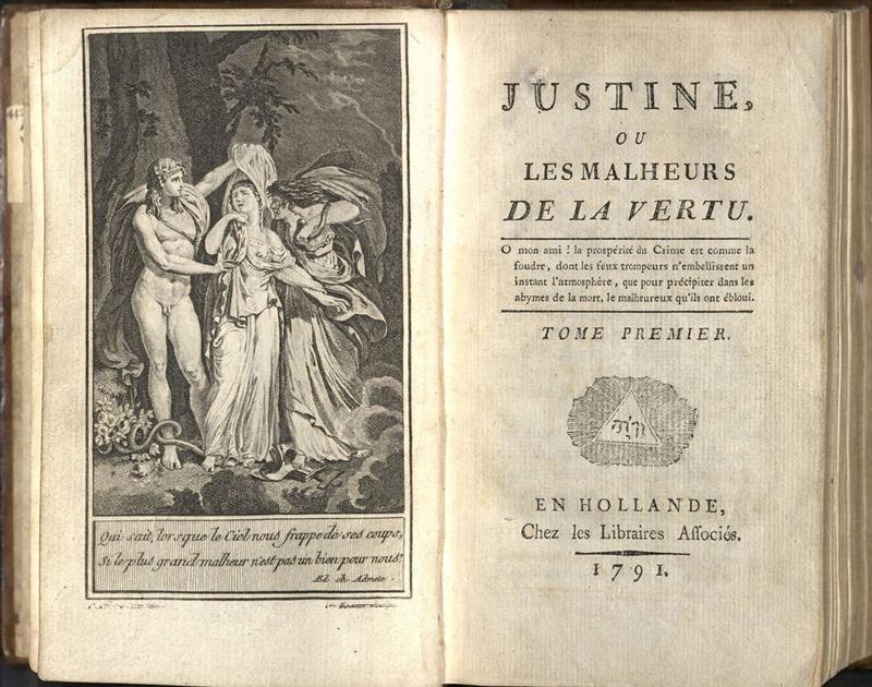 Прижизненное издание романа «Жюстина, или несчастья добродетели», 1791г. Источник: Википедия