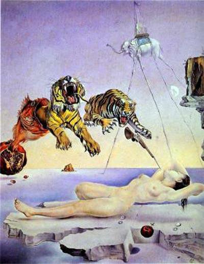 С. Дали. Сон, вызванный полетом пчелы вокруг граната, за секунду до пробуждения. 1944 г.