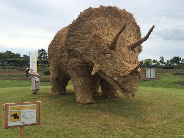 Фигура трицератопса, сделанная из рисовой соломы для японского фестиваля Wara Art Festival в провинции Ниигата