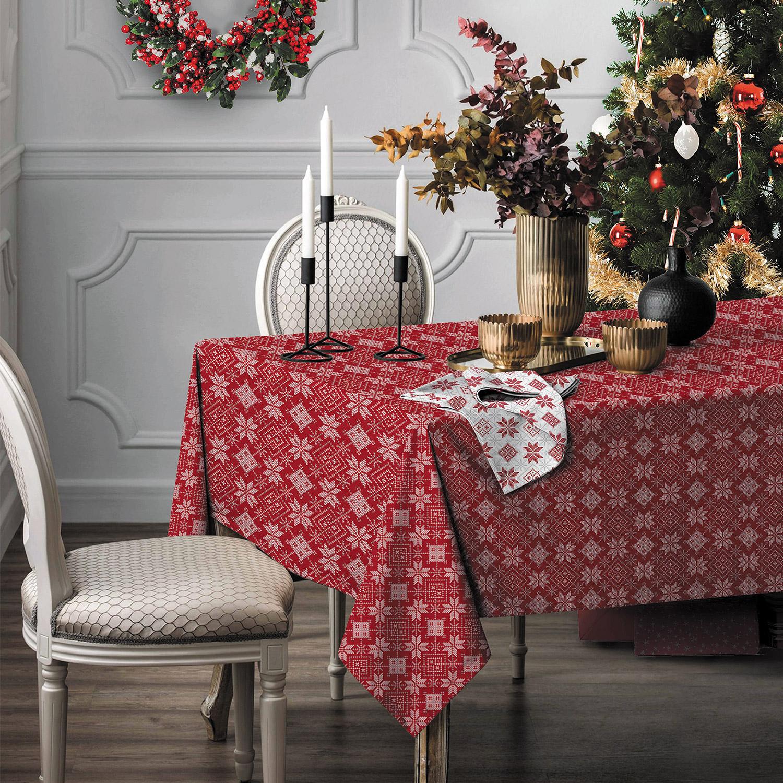 Красная скатерть на стол на новый год запчасти для швейных машин typical 6150